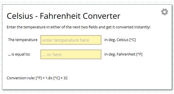 Celsius C Fahrenheit F Temperature Converter Calcresource