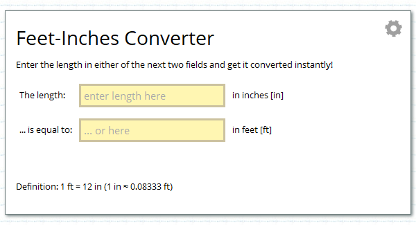 Feet Inches Unit Converter Calcresource