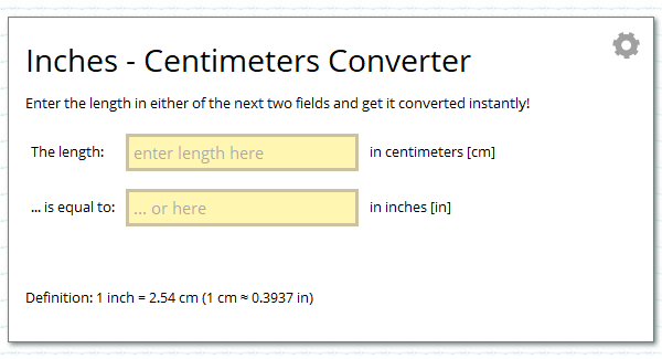Inches Centimetres Unit Converter Calcresource