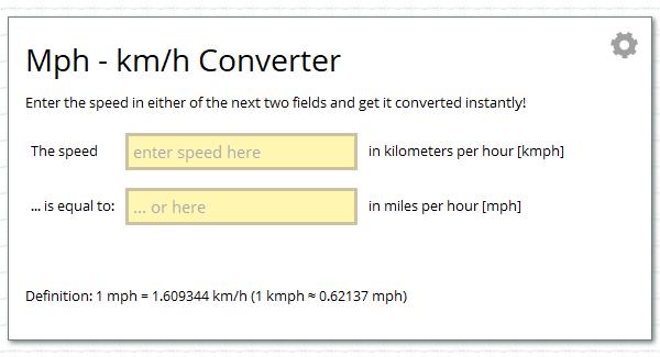Miles Per Hour Mph Kilometers Per Hour Kmh Unit Converter