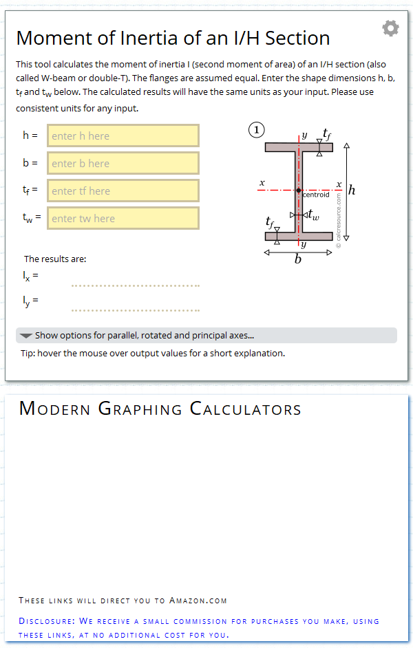 Moment Of Inertia Of An I H Section Calc Resource